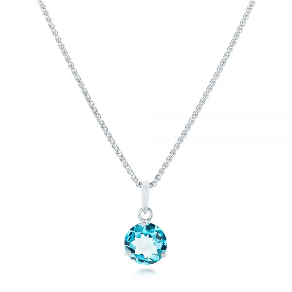 Blue Topaz Pendant - Three-Quarter View -  102615 - Thumbnail