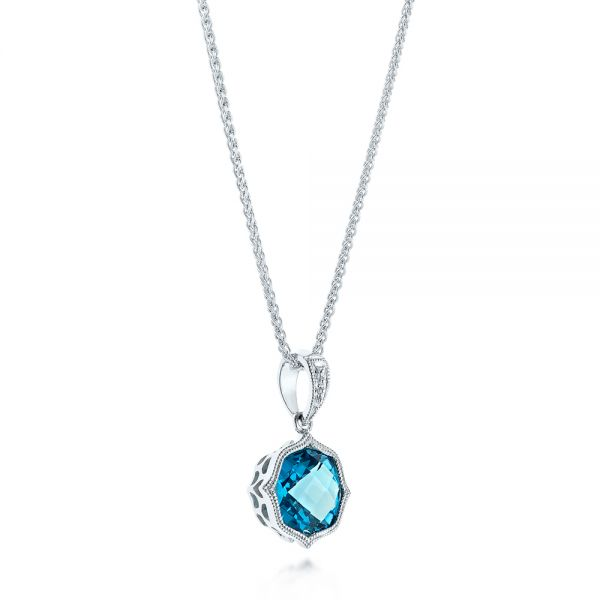 Blue Topaz Vintage-inspired Pendant - Flat View -