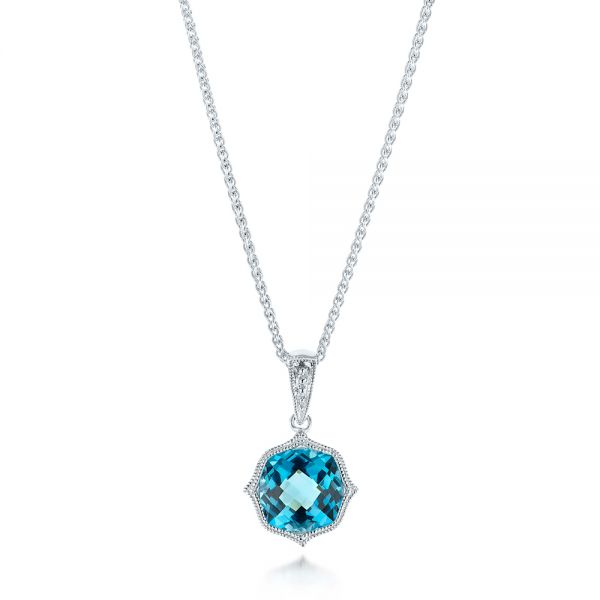 Blue Topaz Vintage-inspired Pendant - Three-Quarter View -