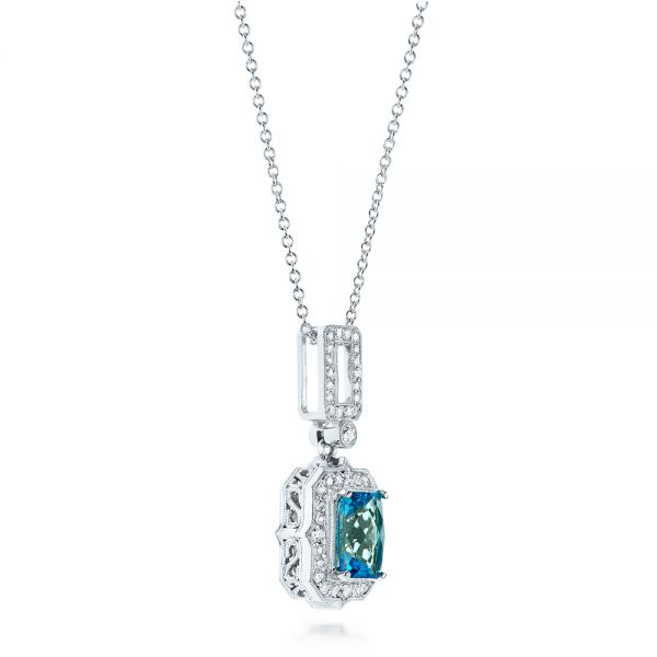 14k White Gold Blue Topaz And Diamond Pendant - Flat View -  103615