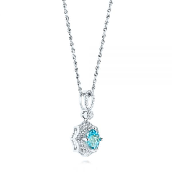 14k White Gold Blue Topaz And Diamond Pendant - Front View -