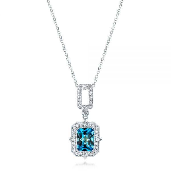 Blue Topaz and Diamond Pendant - Image