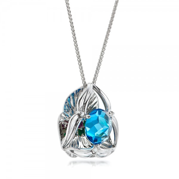 Blue Topaz and White Gold Pendant - Laying View