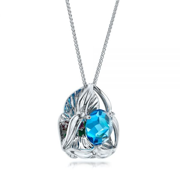 Blue Topaz and White Gold Pendant - Flat View -  101122 - Thumbnail
