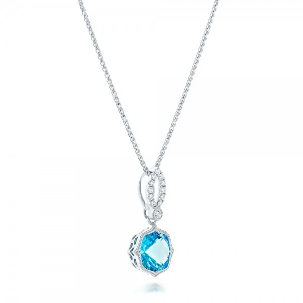 Blue Topaz and and Diamond Pendant - Laying View