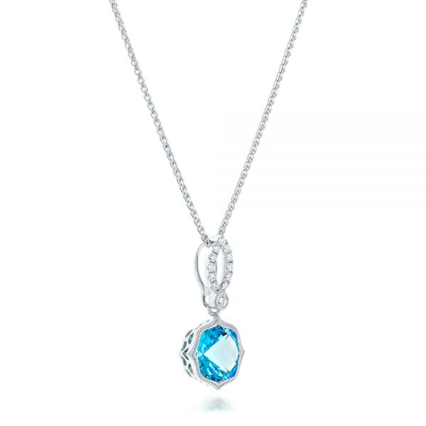 Blue Topaz And And Diamond Pendant - Flat View -