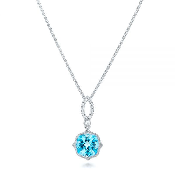 Blue Topaz and and Diamond Pendant - Image