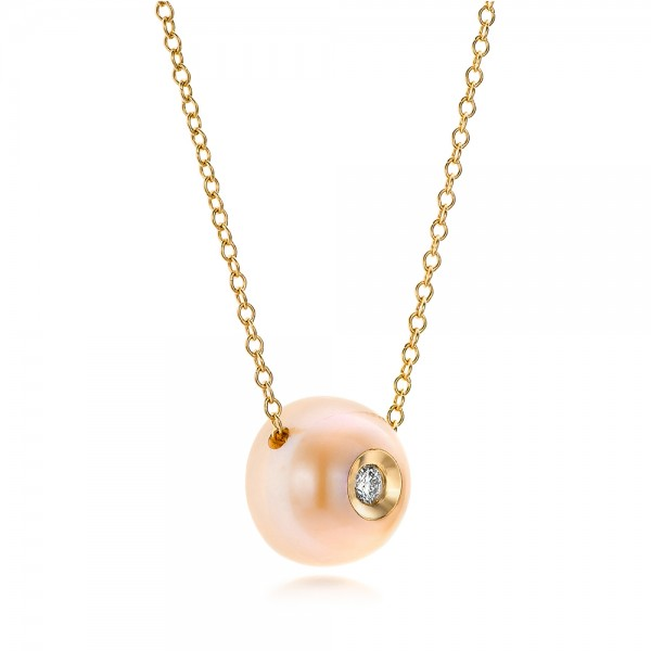 Fresh Peach Pearl and Diamond Pendant - Laying View