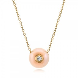 Fresh Peach Pearl and Diamond Pendant