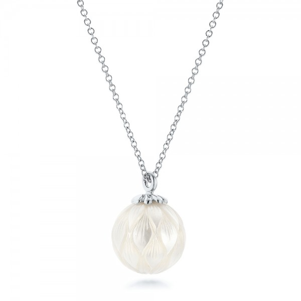 Carved Fresh White Pearl Pendant - Laying View