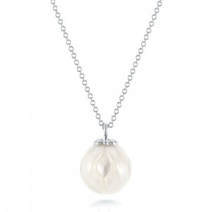 Carved Fresh White Pearl Pendant