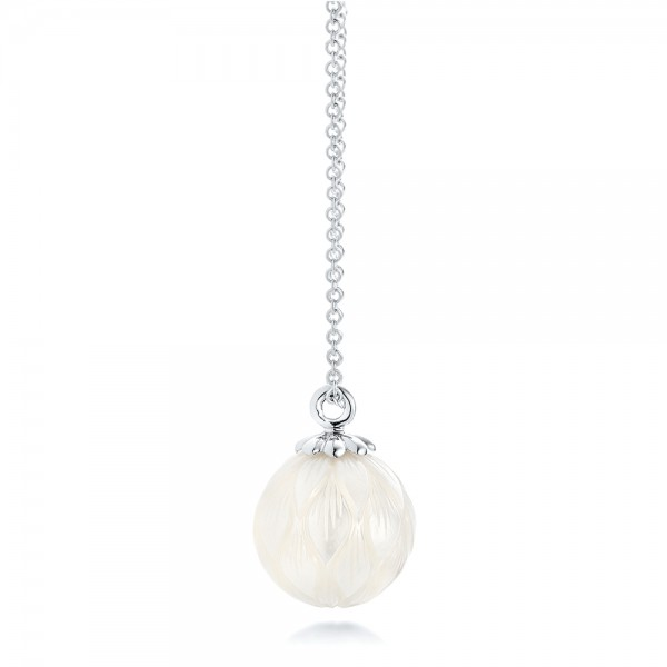 Carved Fresh White Pearl Pendant - Side View