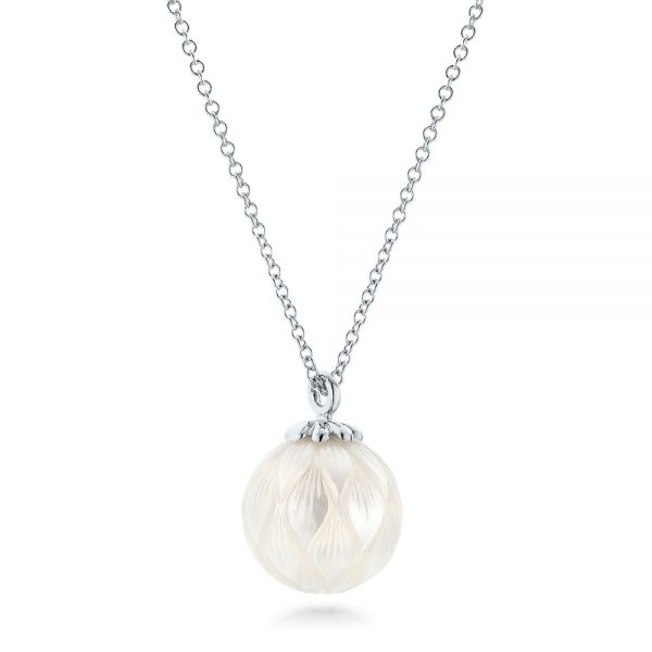 Carved Fresh White Pearl Pendant - Flat View -