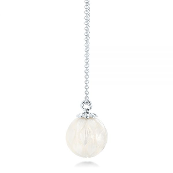Carved Fresh White Pearl Pendant - Side View -