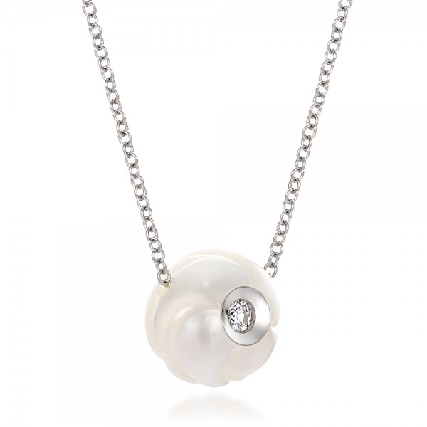 Carved Fresh White Pearl and Diamond Pendant - Laying View