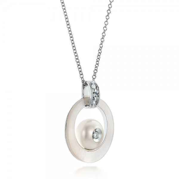 Fresh White Pearl and Diamond Pendant - Laying View