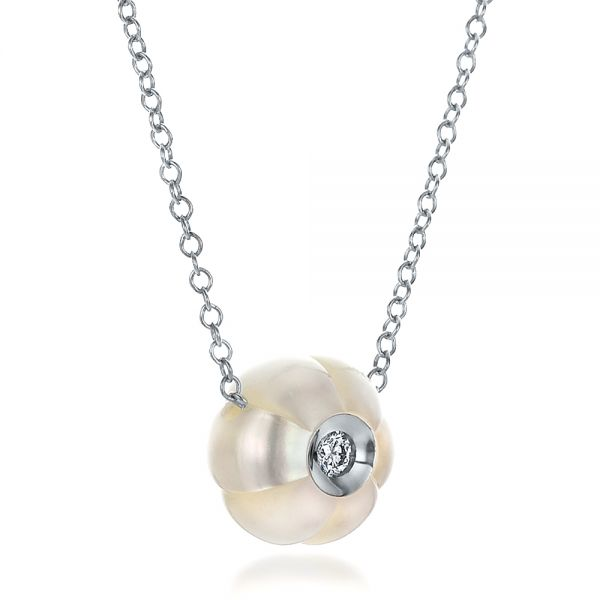 Carved Fresh White Pearl And Diamond Pendant - Flat View -  100330