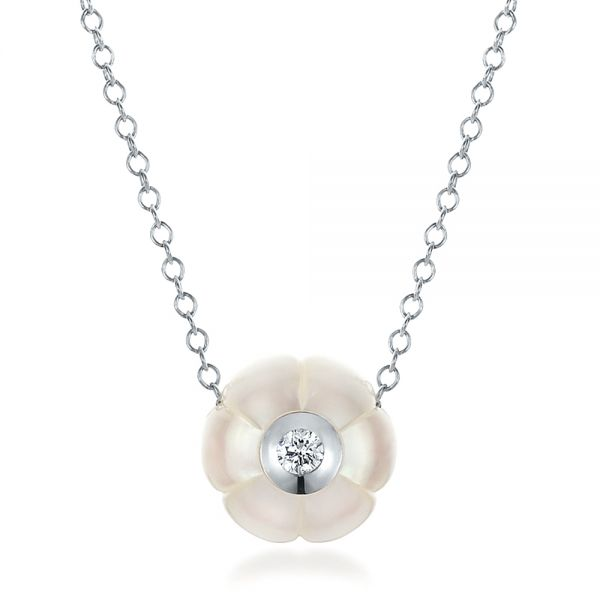 Carved Fresh White Pearl and Diamond Pendant - Image