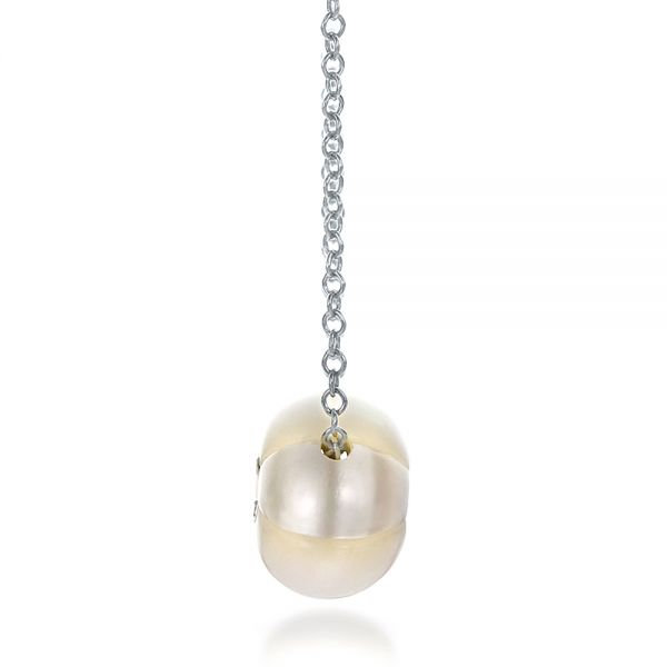 Carved Fresh White Pearl And Diamond Pendant - Side View -  100330