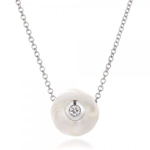 Carved Fresh White Pearl and Diamond Pendant
