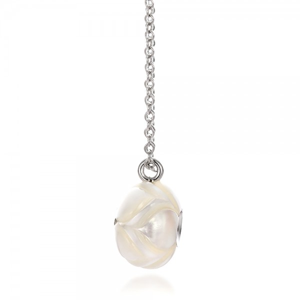 Carved Fresh White Pearl and Diamond Pendant - Side View