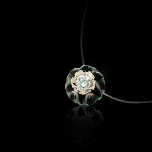 Carved Pearl and Diamond Pendant - Laying View