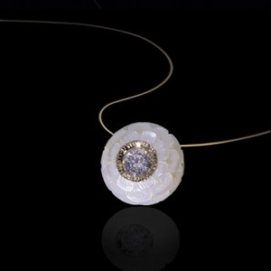 Carved Pearl and Diamond Pendant