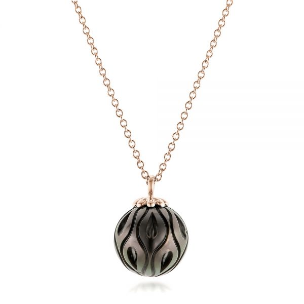 18k Rose Gold 18k Rose Gold Carved Tahitian Pearl Pendant - Three-Quarter View -  102577