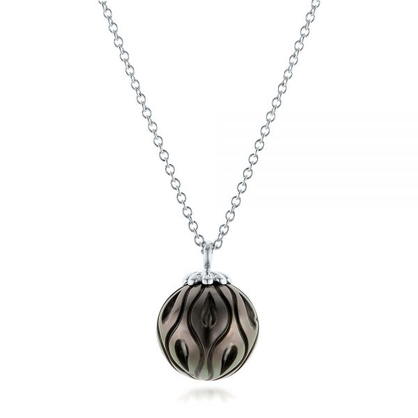 Carved Tahitian Pearl Pendant - Three-Quarter View -