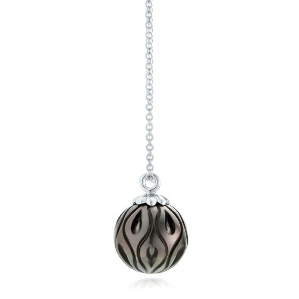 Carved Tahitian Pearl Pendant - Side View -