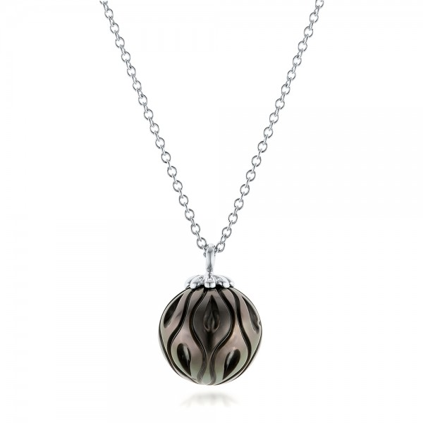 Carved Tahitian Pearl Pendant - 3/4 View