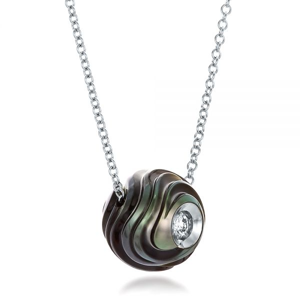 Carved Tahitian Pearl and Diamond Pendant - Flat View -  100314 - Thumbnail