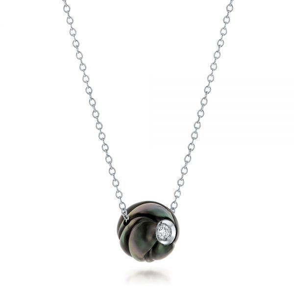 14k White Gold Carved Tahitian Pearl And Diamond Pendant - Flat View -  101962