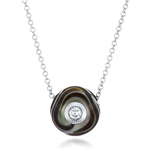 Carved Tahitian Pearl and Diamond Pendant - Image