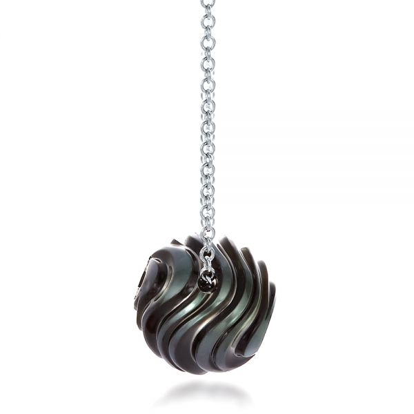 Carved Tahitian Pearl and Diamond Pendant - Side View -  100314 - Thumbnail