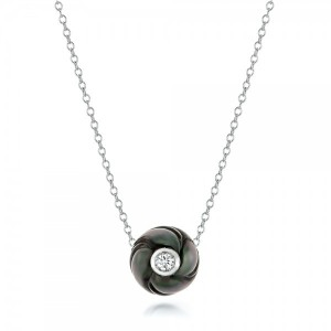 Carved Tahitian Pearl and Diamond Pendant