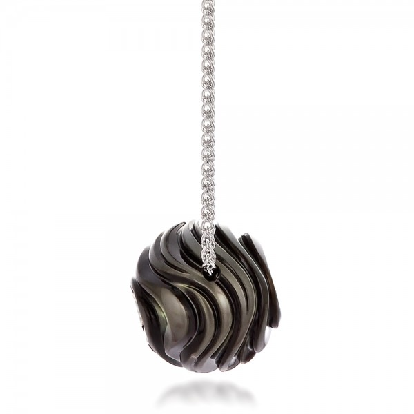 Carved Tahitian Pearl and Diamond Pendant - Side View
