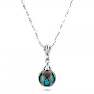 Carved Turquoise Tahitian Pearl Pendant