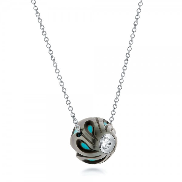 Carved Turquoise Tahitian Pearl and Diamond Pendant - Laying View