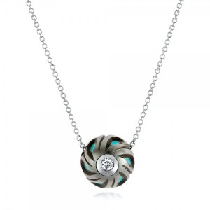 Carved Turquoise Tahitian Pearl and Diamond Pendant