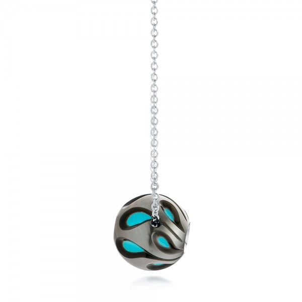 Carved Turquoise Tahitian Pearl and Diamond Pendant - Side View