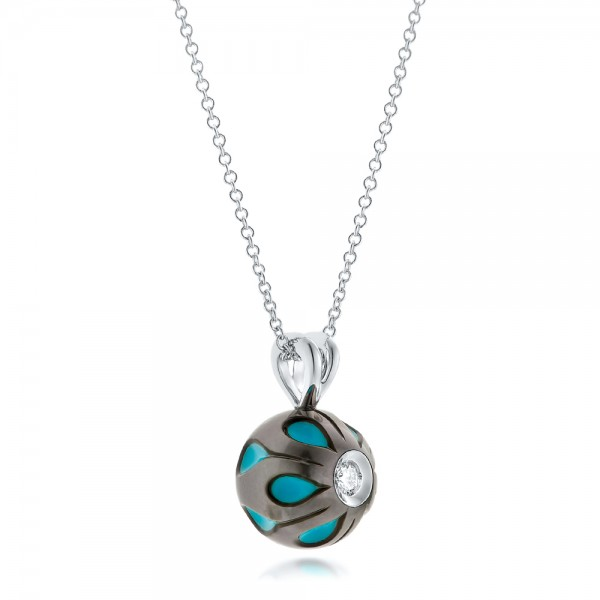 Carved Turquoise Tahitian Pearl and Diamond Pendant - Flat View -  102574 - Thumbnail