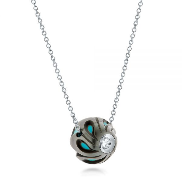 Carved Turquoise Tahitian Pearl And Diamond Pendant - Flat View -