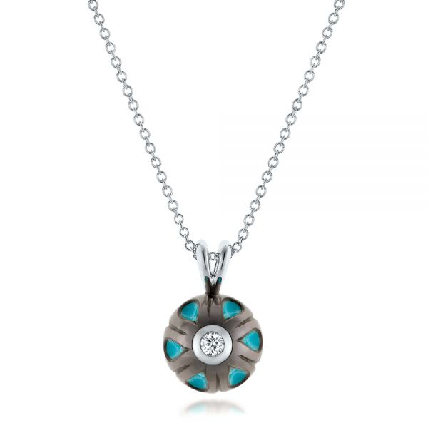 Carved Turquoise Tahitian Pearl and Diamond Pendant - Image