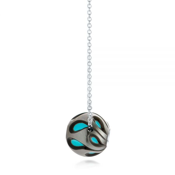 Carved Turquoise Tahitian Pearl And Diamond Pendant - Side View -