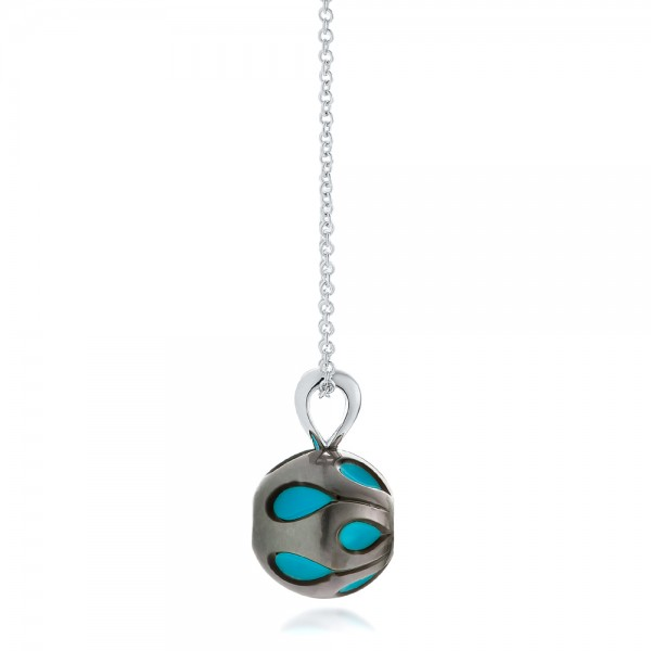 Carved Turquoise Tahitian Pearl and Diamond Pendant - Side View -  102574 - Thumbnail