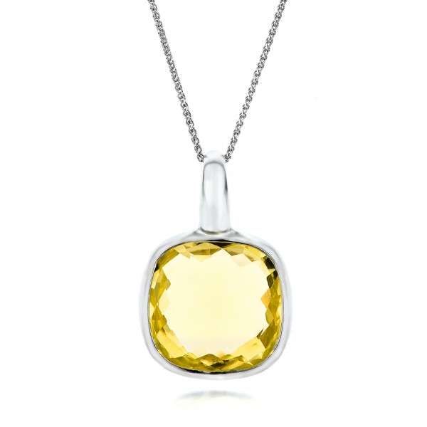 Checkerboard Lemon Quartz Pendant