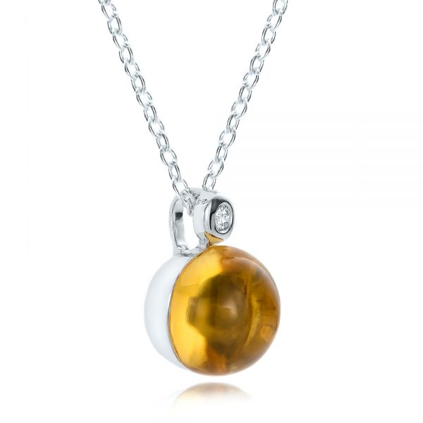 Citrine Cabochon And Diamond Pendant - Flat View -  100445