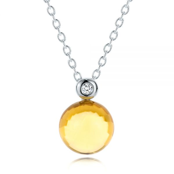 Citrine Cabochon And Diamond Pendant - Three-Quarter View -