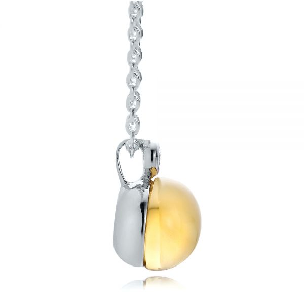 Citrine Cabochon And Diamond Pendant - Side View -  100445